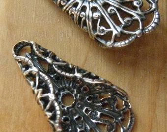 Folded Filigree Tri-Angles Your choice of Silver, Gold or Copper 2 pieces F665