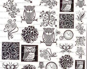 SALE 45 Sepia Decals for Image Transfer Onto Glass (45Floral)