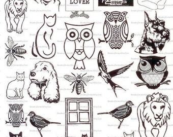 Animal Fusible Sepia Decals for Image Transfer Onto Glass 0630Animals
