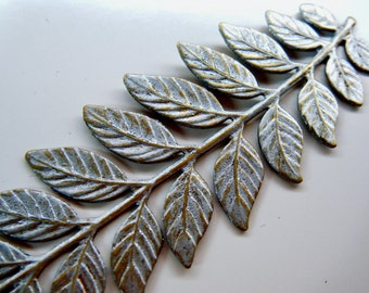 Branch with Leaves Stamping in Silver Patina 32mm x 87mm 1 Branch