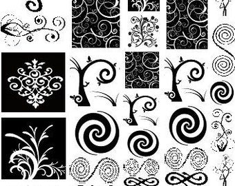 Sepia Decals for Glass Fusing 37 Swirl Assortment for Glass, Ceramics and Enamels (37Swirls)