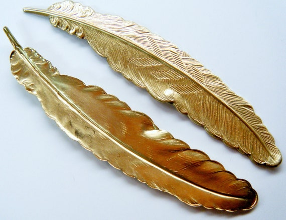 6 Raw Brass Feather 3.5 inches Long Bulk Order Discounted