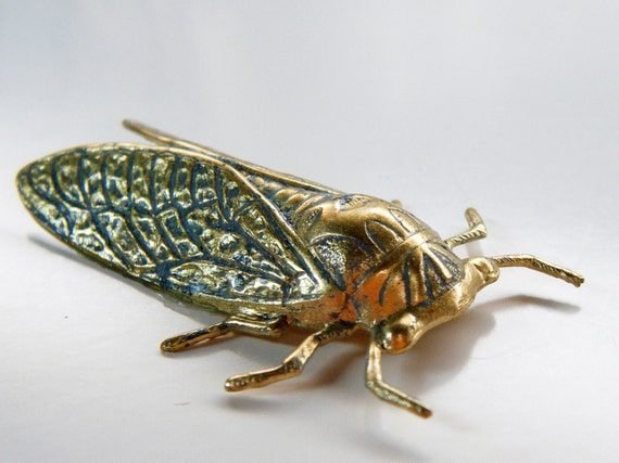 2 Blue Patina Cicada Stampings in Raw Brass