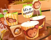 Monkey Jungle and Bananas Party Kit in yellow - CHANGEABLE TEXT PRINTABLE pdf Complete Set 0109