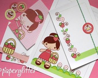 Strawberry Patch and Shortcake Desserts Stationery Set-Printable PDF 0034