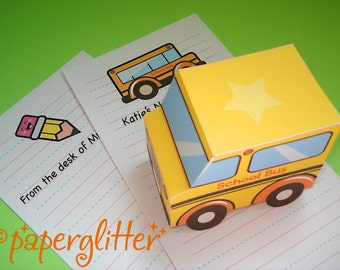 Back to School Bus Paper Toy Truck and Stationery Notes - Printable PDF with Editable Text Feature so you type in the text 0016