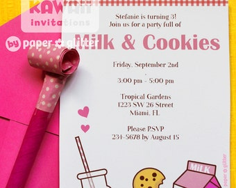 Milk Cookies Invitation or Thank You Card for Birthday Girl, Baby Shower or any Party Printable DIY