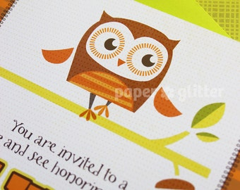 Owl Invitation for birthday or baby shower party boy neutral, Invite or Thank You Card Printable PDF or JPG