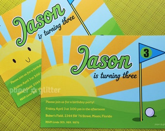 Golf Invitation for birthday mini golf for boy, Invite or Thank You Card Printable PDF or JPG