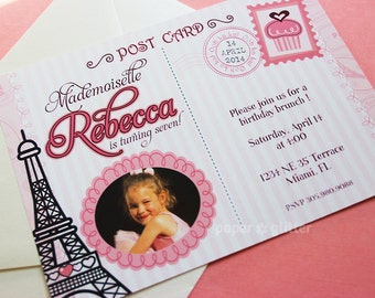 Paris Invitation for ooh la la birthday party or baby shower, Invite or Thank You Card with photo Printable PDF or JPG