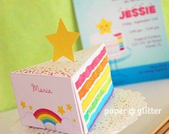 Rainbow Paper Cake Slice favor party baking box printables GIRLY PINK - Editable Text Printable PDF 1052