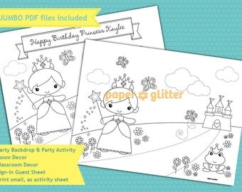 Princess Party Decoration Coloring Sheet Backdrop Wall Decor Printable Wall Decor  3 x 4 feet - Editable Text Printable PDF 0107