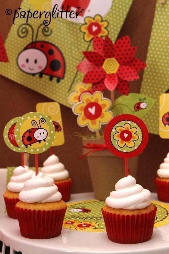 Ladybug Love Birthday Party Kit in RED - Printable PDF Complete Set 0046