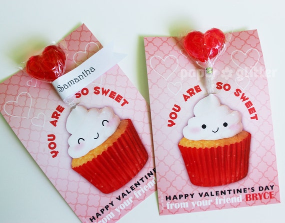 Valentine Lollipop Party Card Printable for Party or School Classroom- We personalize with your child's name 0116