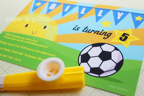 Soccer Party Invitation for birthday or game event, Invite or Thank You Card Printable PDF or JPG