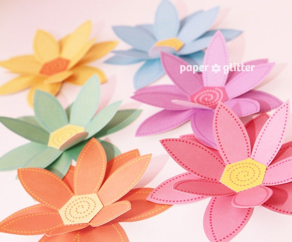 Paper Flowers PASTEL Rainbow Paper Craft Set 2 by paperglitter