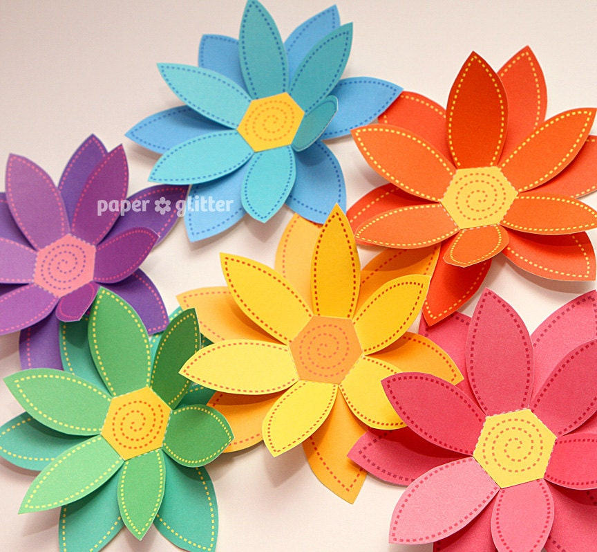 paper flowers rainbow paper craft set 2 sizes printable