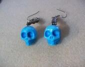 Tiffany Blue Stone Skull Dangle Earrings