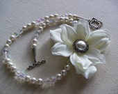 Pearl, Crystal and Flower Necklace