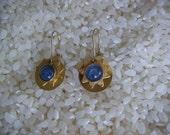Golden Sun with Aqua Blue Center Dangle Earrings