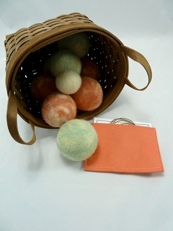 Indoor Bocce Ball Set, Mint and Salmon 100% Wool, Soft Wool Balls, Rainy Day Game, Decor and Game in One