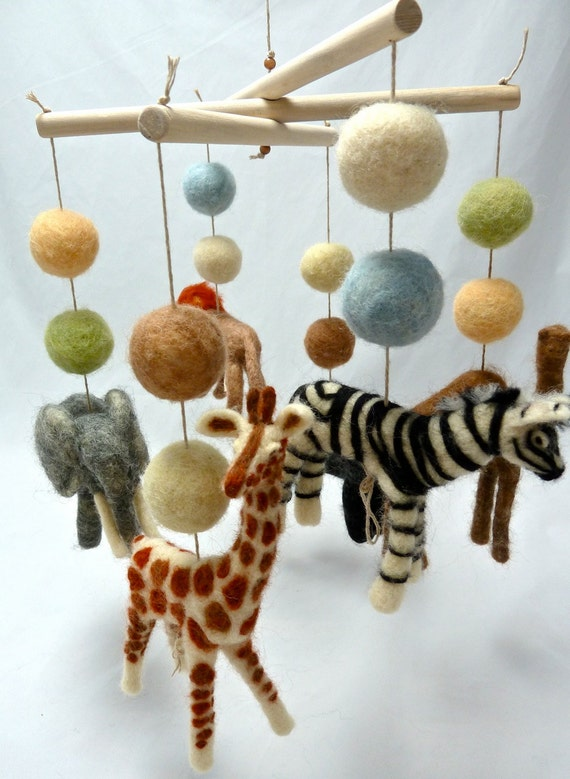 Super Safari Baby Mobile, 6 figures, 12 Balls, Custom Felted Mobile with Camel and Gorilla, Made to Order