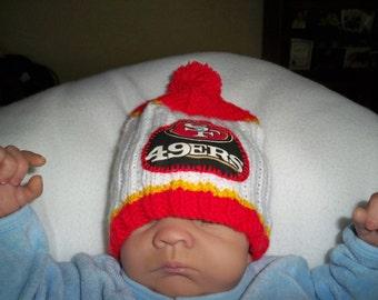 San Francisco 49ERS Custom Handmade, Knit Baby Hat/ Beanie
