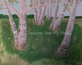 Original Painting Birch Trees
