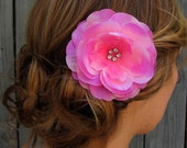 Pink Peony Rose Bridal Rhinestone Comb Wedding Hair Comb Large Flower Hair Comb Layered Flower Comb - Ivory and White also Available
