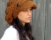 Slouchy Hat Newsboy Hat Chunky Cap Womens Hat Tam Slouchy Beanie Two Button Band Slouchy Cap Handmade Hazelnut or CHOOSE color Best Seller