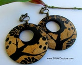 Large Wooden Tree of Life CLIP-ON Earrings - Black & Golden Bohemian style- PIERCED also available