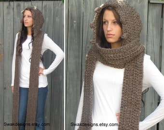Hooded Scarf Womens Scarf The MESSENGER Wool Scarf Scoodie Long Scarf Handmade Knit Scarf Wood Brown or CHOOSE your Color