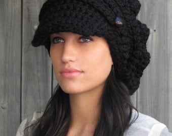 Black Slouchy Hat Crochet Slouchy Hat Newsboy Hat Womens Hat Chunky Beanie Brim Handmade Two Leather Button Band Cap - CHOOSE Your Color