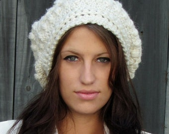 Slouchy Beanie Womens Winter Hat Slouchy Hat Bobble Cap Chunky Beanie Tam Handmade Hand Knit Hat Winter White or CHOOSE Your color