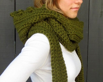 Hooded Scarf Chunky Scoodie Hooded Cowl Wrap Messenger Scarf Womens Scarf- Cilantro Green or Choose your Color