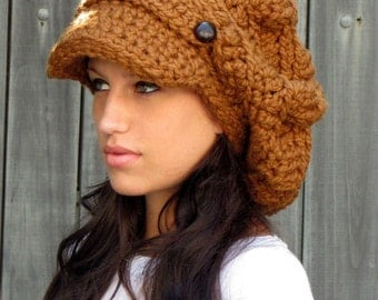 Slouchy Newsboy Hat Wool Cap Chunky Crochet Hat Two Button Band Slouchy Cap Tam, Hazelnut or Choose color - Best Seller Pinterest Favorite