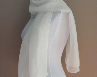IVORY Chiffon Scarf Wedding Scarf Lightweight Scarf, Bridemaid Scarf Bridal Wrap Scarf