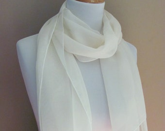 Ivory Chiffon Scarf Sheer Ivory Scarf Bridal Scarf Wedding Scarf Special Occasion Wedding Shawl - or Choose Color