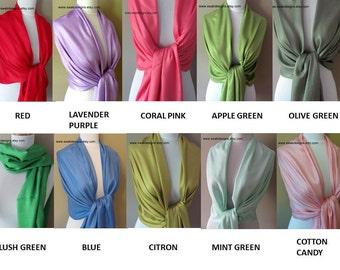 Pashmina Shawl Set - 6 High Quality Wedding Pashmina Scarf Wedding Wrap Bridemaid Gift Idea Bridal Wrap - Choose ANY 6 colors