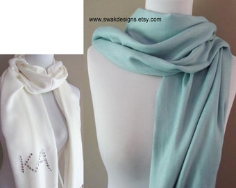 Pashmina Scarf Pale Tiffany Blue Wedding Pashmina Scarf Bridal Accessories Wrap Stole Bridal Shawl Bridesmaid Gift Idea or CHOOSE Your Color