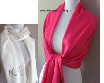 Hot Pink Pashmina Scarf Wedding Pashmina Bridesmaid Shawl Women's Scarf Fashion Scarf Bridal Gift Idea wedding Wrap or CHOOSE Your Color