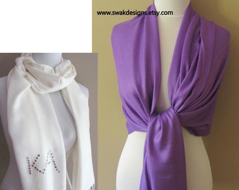 Wedding Pashmina Purple Pashmina Scarf Wedding Scarf Bridesmaid Gift Idea Bridal Accessories Long Shawl Wrap Stole - or CHOOSE Your Color