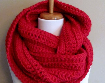 100% Wool Eternity Scarf Super Soft Infinity Scarf Chunky Cowl Thick Large Scarf Gifts for her Cherry Red or Choose Your Color