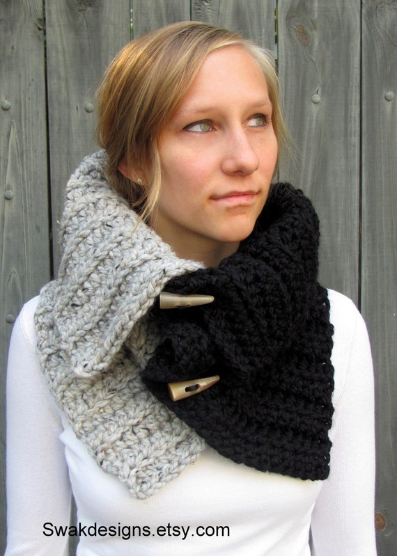Two-Tone Snood Cowl Wrap with Horns..Handmade..CHOOSE Your Colors