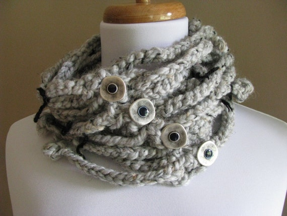 Chunky Chain Cowl Steampunk Cowl Womens or Unisex Scarf Knit Cowl Neckwarmer BALL, CHAINS, & FREEDOM - Gray Tweed - Handmade