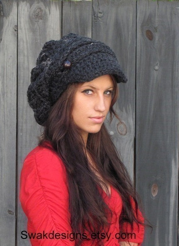 Newsboy Hat Slouchy Hat Slouchy Beanie Tam Crochet Hat Knot Cap Two Leather Button Band Hat Women's Hat - Charcoal Gray or CHOOSE Your color