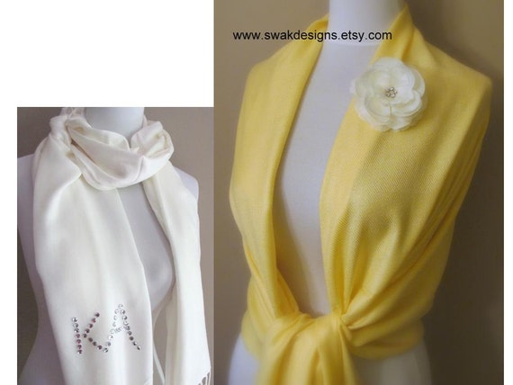 Bridal Wedding Scarf Wrap Pale Yellow Pashmina Scarf, Wedding gift, Bridal Shawl, Wedding Shawl - or CHOOSE Your Color