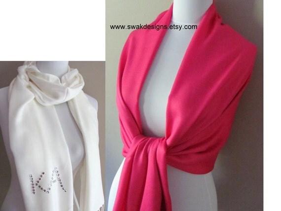 Pashmina Hot Pink Pashmina Scarf Wedding Pashmina Shawl Bridal Shawl Bridesmaid Gift Idea - or CHOOSE Your Scarf Color