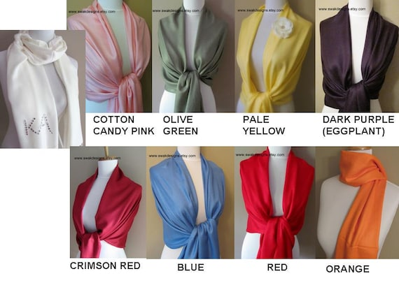 Wedding Pashmina Wedding Shawl Bridesmaid Pashmina Shawl Wrap Bridesmaid Gift Idea Wedding Accessories Scarf Set - Choose Any 6 Colors
