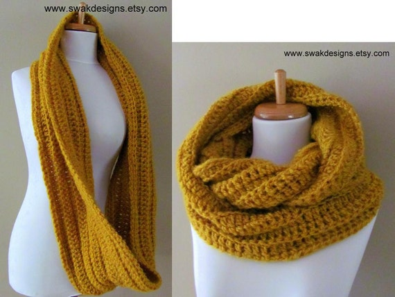 Womens Scarf Eternity Scarf Chunky Circle Scarf Infinity Scarf Knit Winter Scarf Oversized Scarf Burnt Gold or CHOOSE Your Color Handmade